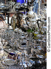 Silverware stall in Portobello road, London UK