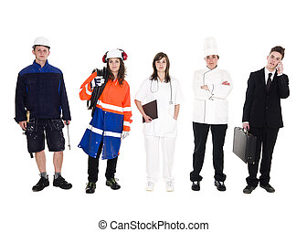 Group of people with different occupation isolated on white...