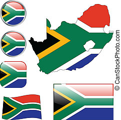 Republic of South Africa buttons - vector