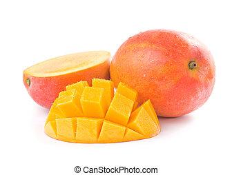 Fresh delicious mango fruit and slice isolated on white...