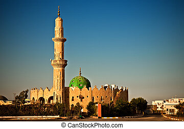 mosque in Hurghada, Egypt - mosque in sunset light,...