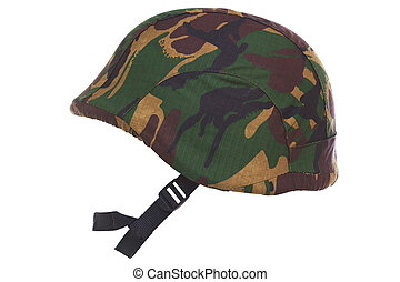 Camouflage kevlar helmet cut out