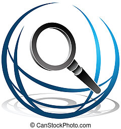 Global Search Icon - An image of a globe and magnifying...
