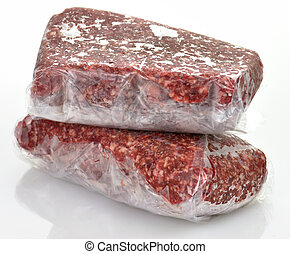 ground meat - frozen ground meat in plastic package, close...