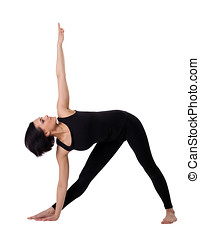 woman stand in yoga triangle pose isolated - young woman...