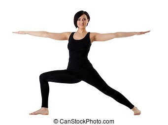 woman stand in yoga pose - Hight Lunge isolated - young...