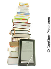 Tall stack of books and e-book reader on the white...