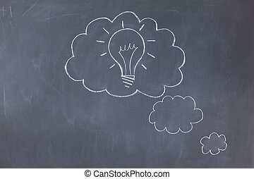 Cloud bubbles on a blackboard