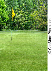 Beautiful vivid colorful image of golf course with green and...