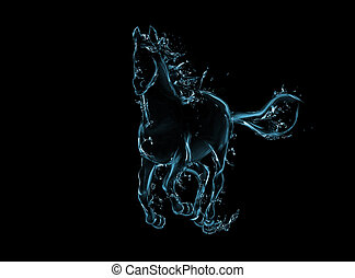 Galloping horse liquid artwork on black - Animal figure in...