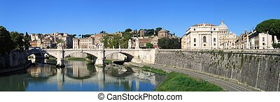 Vittorio Emanuele II bridge in Rome and St. Peter Vatican