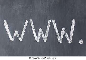 "Blackboard with letters ""www"" written on it"