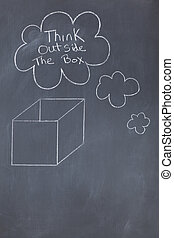 Cloud bubbles containing a message and a box drawn