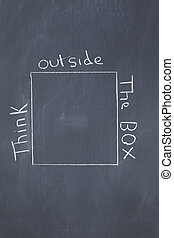 "Words ""think outside the box"" written around a square on a..."