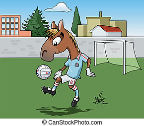 Horse playing soccer - Cartoon-style illustration: Cute...