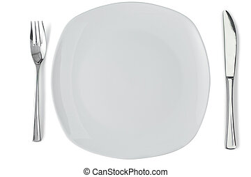 White plate with silver fork and knife