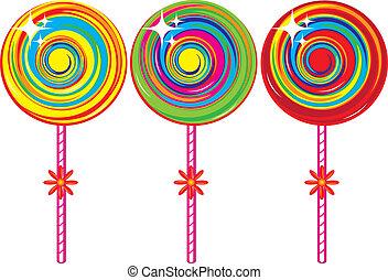 セット, カラフルである, lollipops
