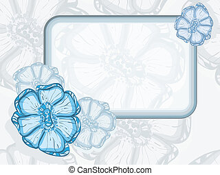 vector frame  with abstract flowers on seamless background