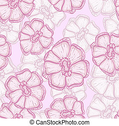 vector seamless background with abstract sakura flowers