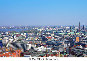 hamburg skylin alster - aerial view of the skyline of...