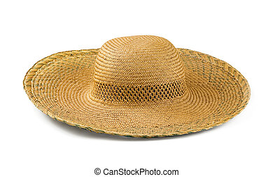 Straw hat - Yellow straw hat isolated on white