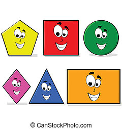 Learning shapes - Illustration of shapes in different colors...