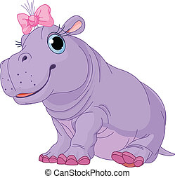 Cartoon baby Hippo girl - Illustration of cute baby Hippo...