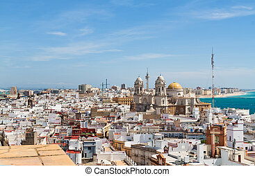 Spain, Andalucia, Cadiz - The city of Cadiz in Andalusia,...