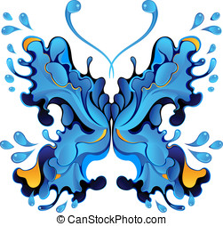 Blue butterfly-blot