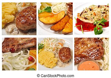 fresh and tasty meals - collage of fresh and tasty meals