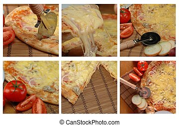 different pizza pictures - collage of different pizza...