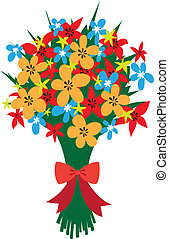 Festive bouquet of wildflowers with red bow