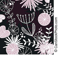 Retro floral pattern or backround - black, white and pink