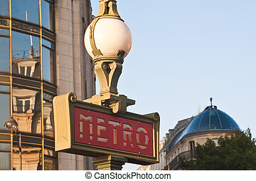 Metro entrance in Paris, France