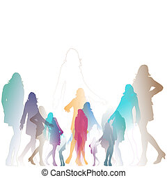 posing women illustration - colorful silhouettes of posing...