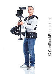 Cameraman. - Handsome man with camera system support....