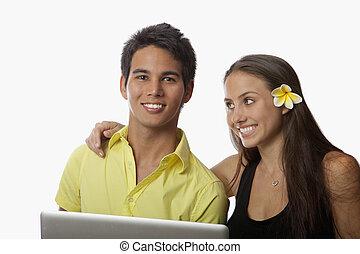 pareja, computadora, computador portatil