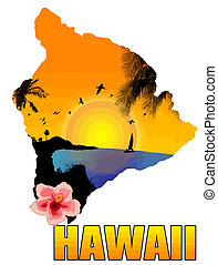 Hawaii poster background, vector illustration