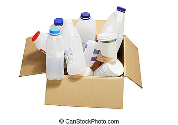 Plastic Containers in Cardboard Box