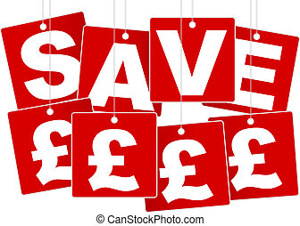 Sale Sign - White Save British Pound Sign on Red Background