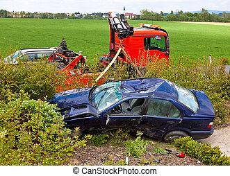 destruição, após, car, acidente