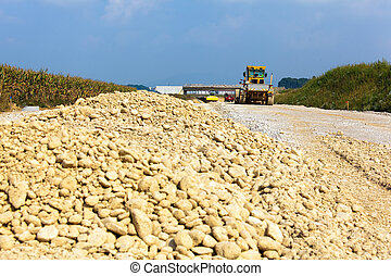 Excavator on a road construction site - Site with an...