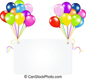 Birthday Card With Balloons, Isolated On White Background,...