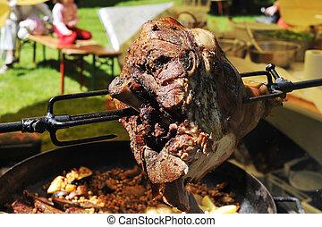 meat is fried