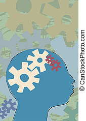 Thinking Person - Thinking process illustrated by gears in...