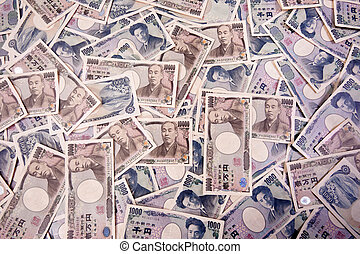 Yen bank notes, currency from Japan - Many Japanese yen, the...