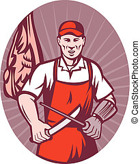 meat butcher with knife - illustration of a meat butcher...