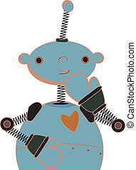Shy blue child robot illustration