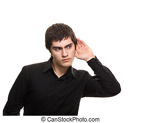 Young eavesdrop man in black shirt isolated on white background