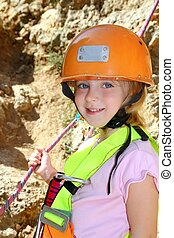 climbing little girl smiling portrait helmet rope - climbing...